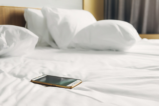 Gadgets in bed white