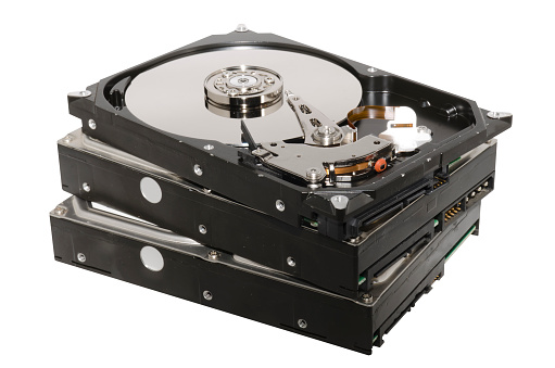 Hard drives stacked
