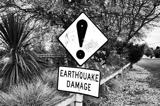 Earthquake damage sign