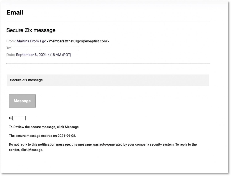 Sample Zix Phishing Email