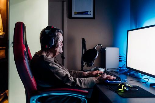 Gaming old woman