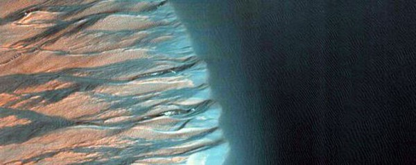 HiRise Camera Captures Images of Sand Dune Erosion on Mars' Kaiser Crater