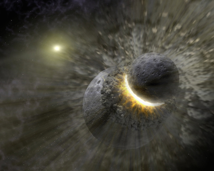 Artist's impression of body colliding with the early Earth