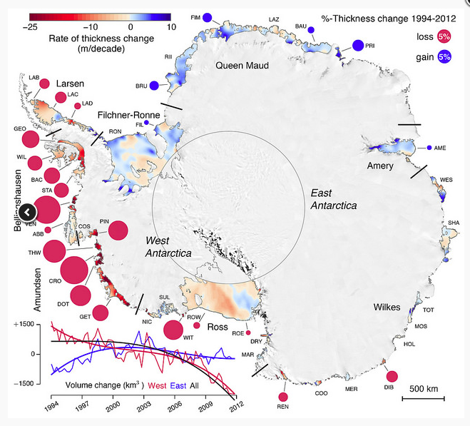 Antarctica. Areas denoted with red are melting fastest.