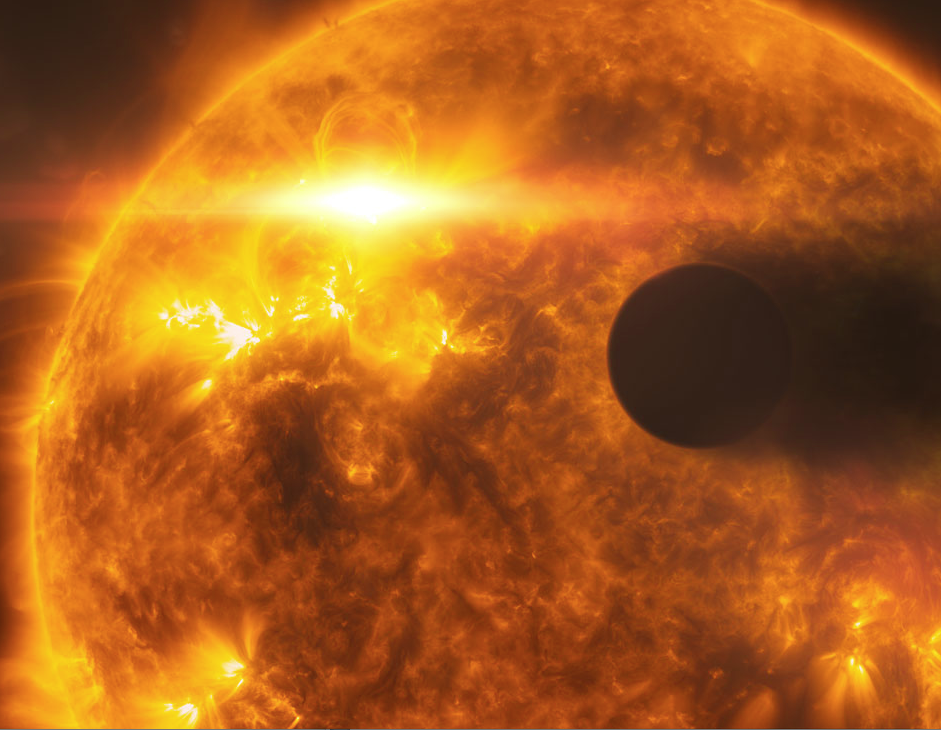 Artist's impression of HD189733b in front of its star