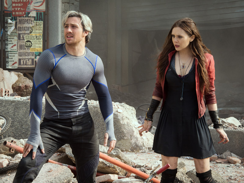Aaron Taylor-Johnson and Elizabeth Olsen as Quicksilver and Scarlet Witch in 'Avengers: Age of Ultron'