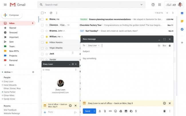 New Gmail And Hangouts Feature Notifies Coworkers When